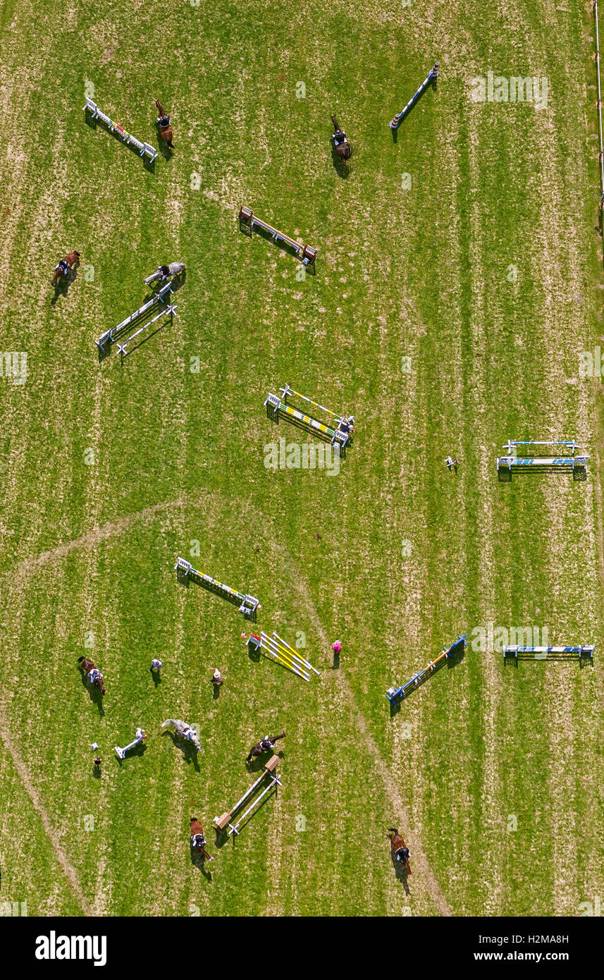 Aerial view, obstacles in the arena, Horse-riding at the Reit u. Fahrverein Heessen e.V., aerial photo of Hamm, - Stock Image