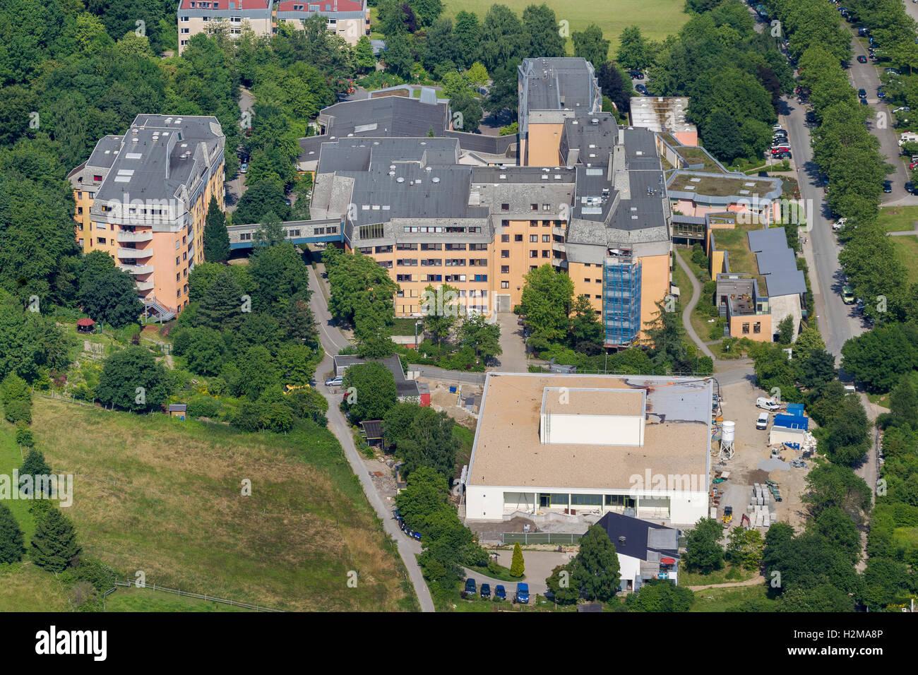 Aerial view, Herdecke Community Hospital, West End, Aerial view of Herdecke, Ruhr area, North Rhine-Westphalia, - Stock Image