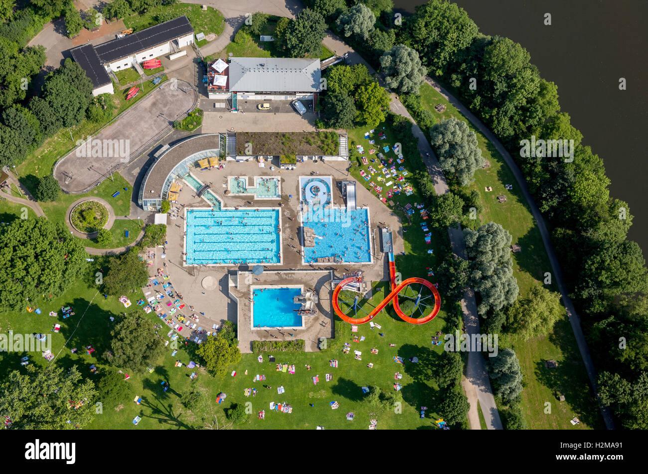 Aerial view, pool, Herdecke, Ruhr area, North Rhine-Westphalia, Germany, Europe, Aerial view, birds-eyes view, aerial - Stock Image
