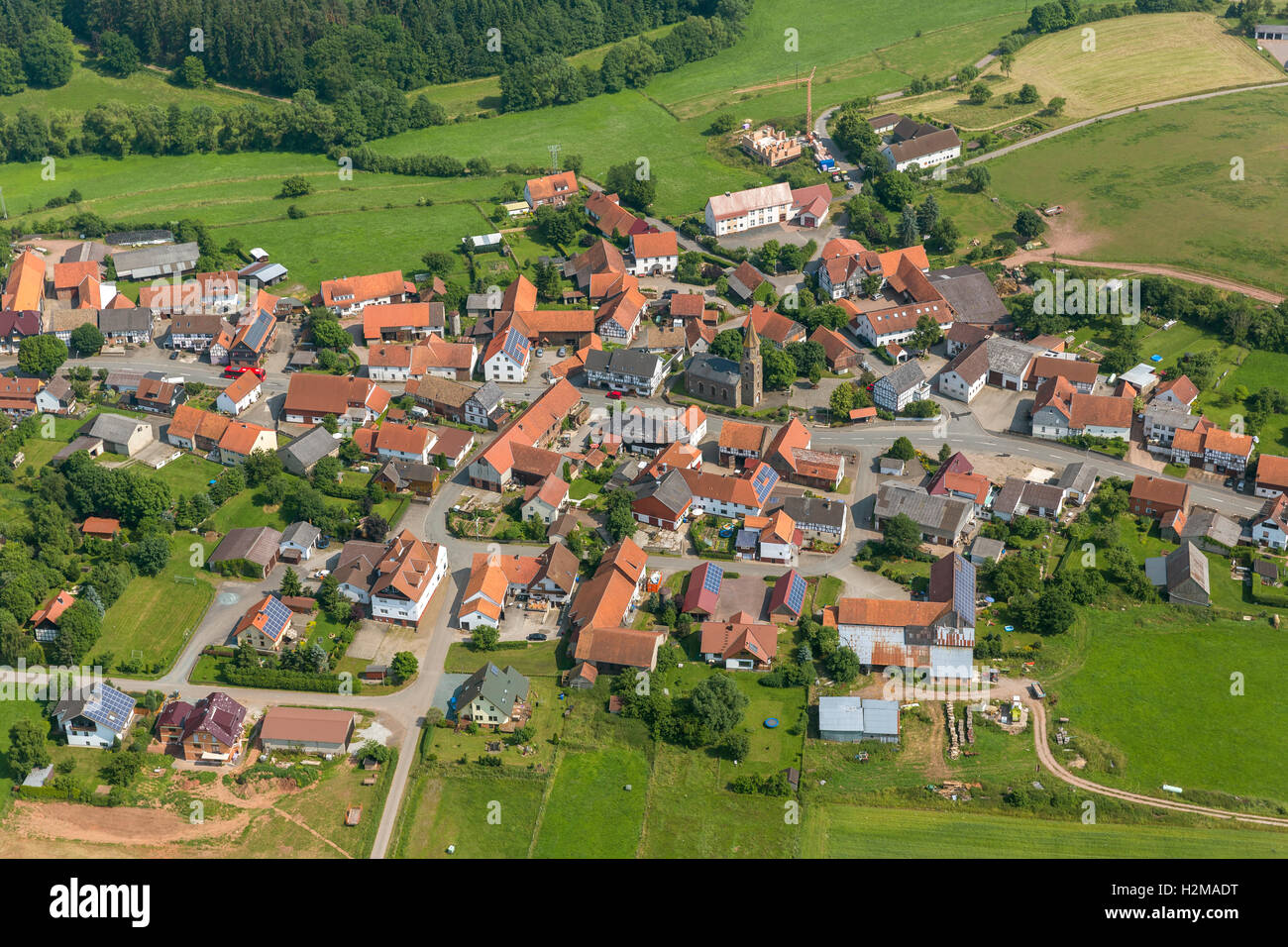 Aerial picture, Lichtenfels, Neukirchen, Sauerland, Hessen, Germany, Europe, aerial picture, birds-eyes view, aerial - Stock Image