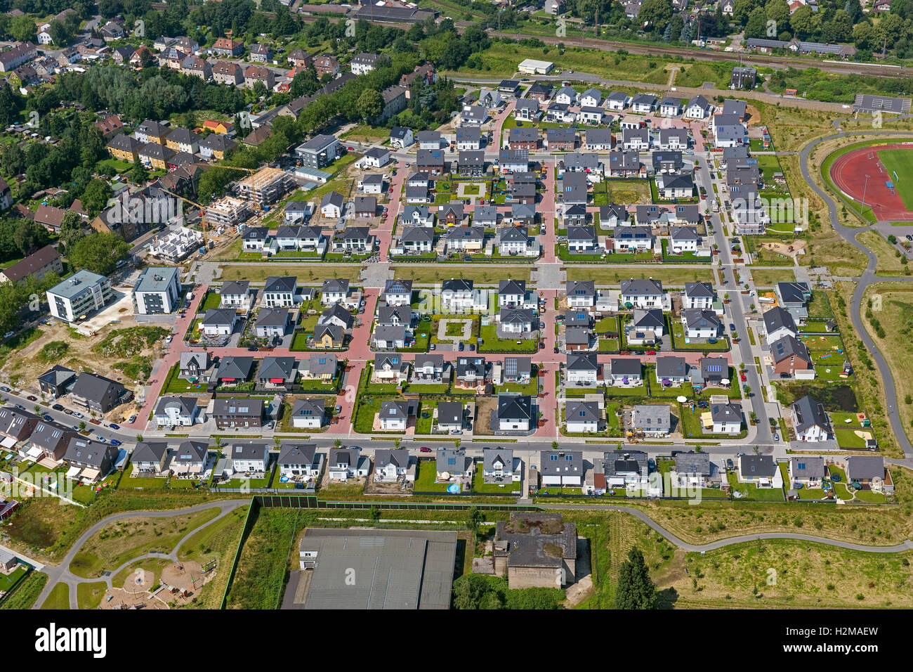 Aerial picture, specific land-use area, housing development Maybacher moor on the area of the former Preston-Barracks - Stock Image