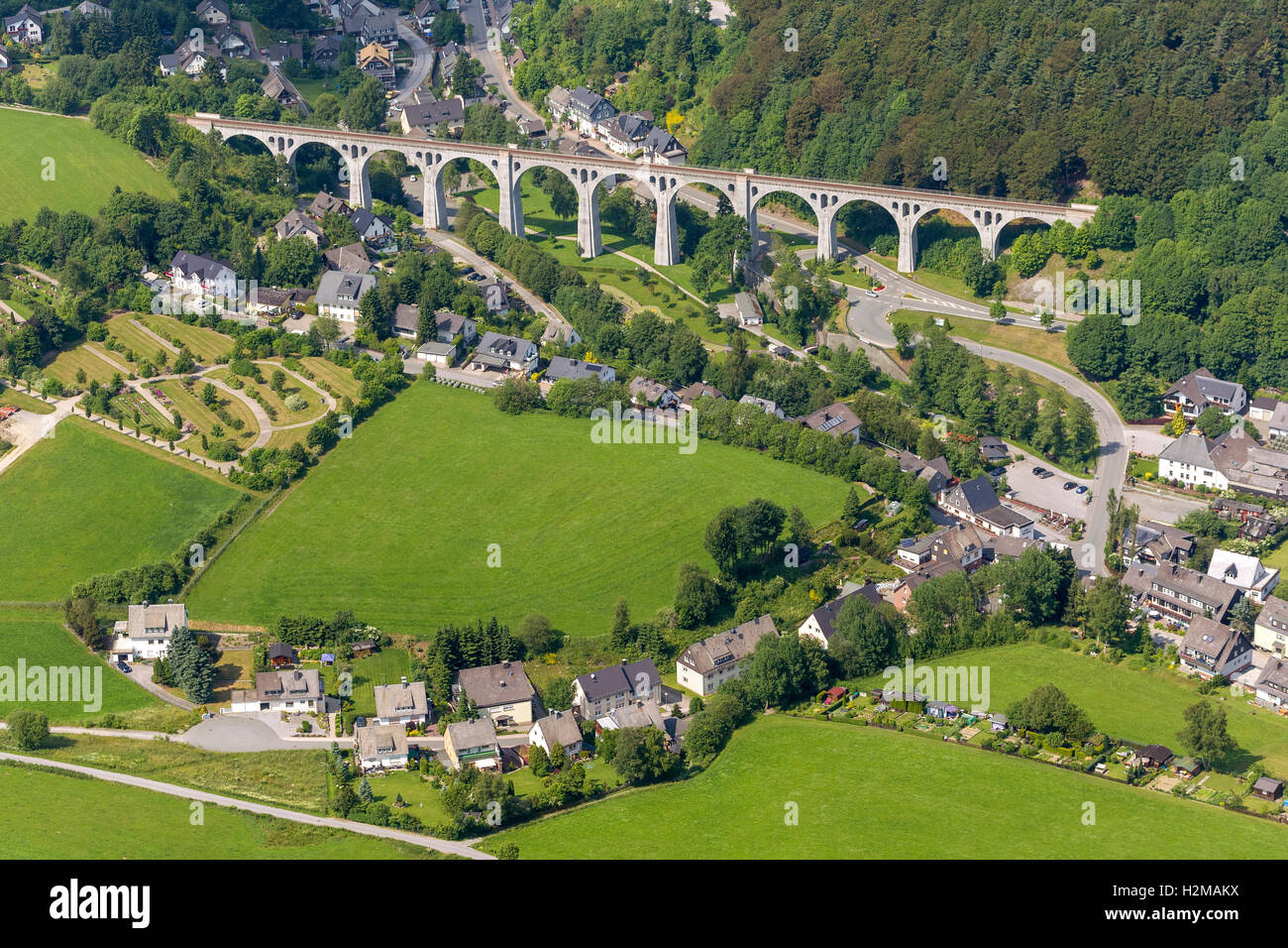 Aerial view, viaduct Willingen, Willingen (Upland), Hochsauerland region, Willingen, Lake Diemelsee, Hessen, Germany, - Stock Image
