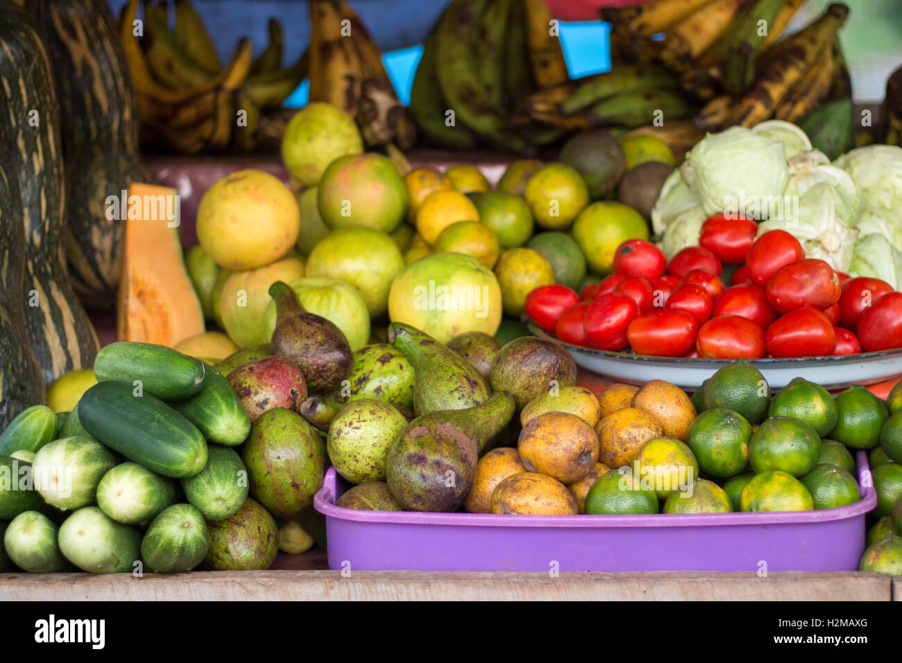 Colorful fruits and vegetables for sale in a Liberian marker, straight from the farm. - Stock Image
