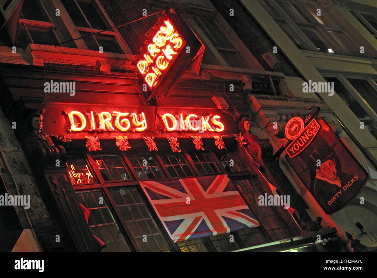 Dirty Dicks 18th Cent Pub, Liverpool Street/ Bishopsgate, London, UK - Stock Image