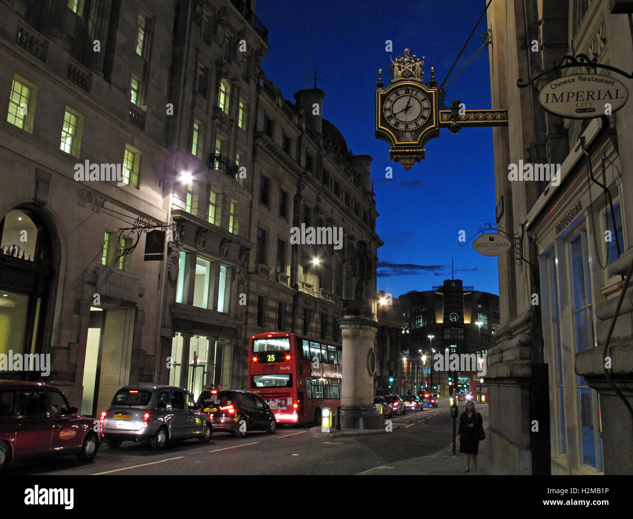 Cornhill City of London, England, UK at dusk - Stock Image
