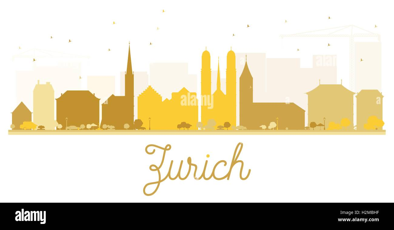 Zurich City skyline golden silhouette. Vector illustration. Simple flat concept for tourism presentation, banner, - Stock Vector