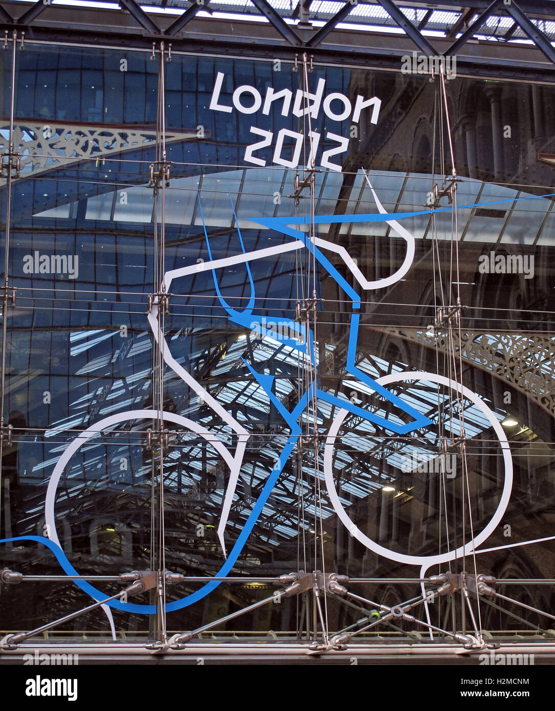 London Olympics Cycling 2012 sculpture at Liverpool St Station - Stock Image