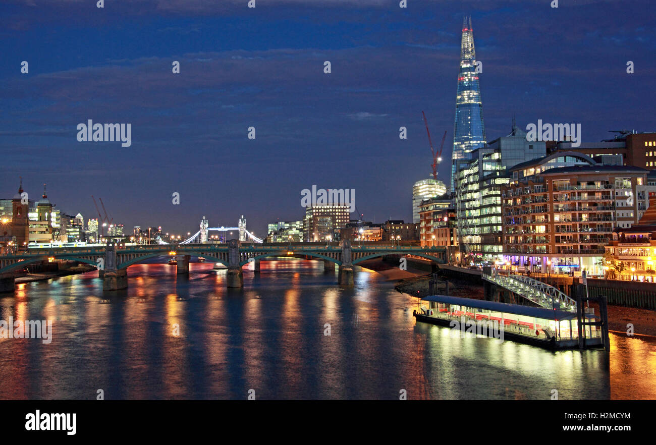 Thames city panorama, London at dusk, South East England, UK - Stock Image