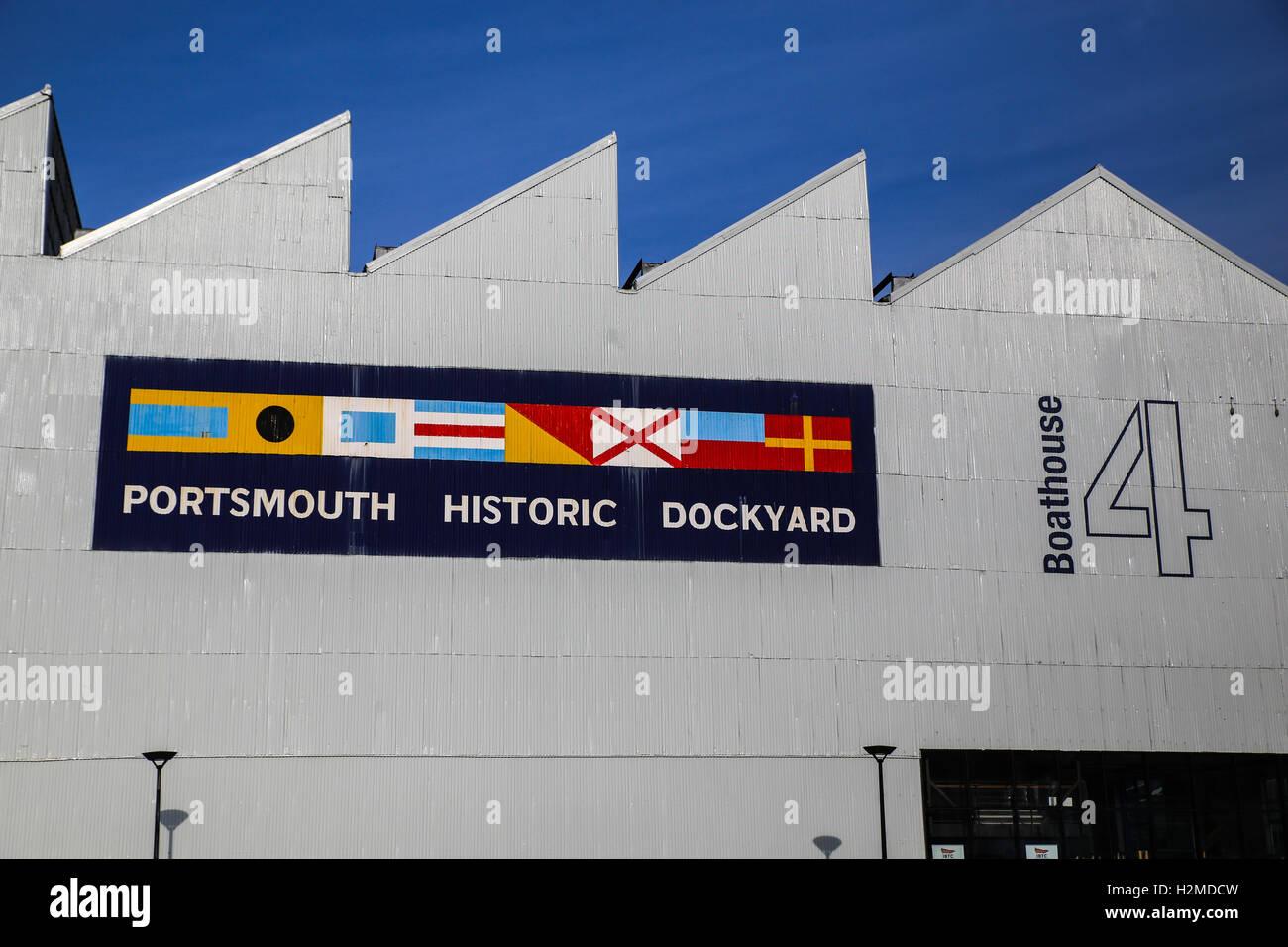 Portsmouth Historic Dockyard sign - Stock Image