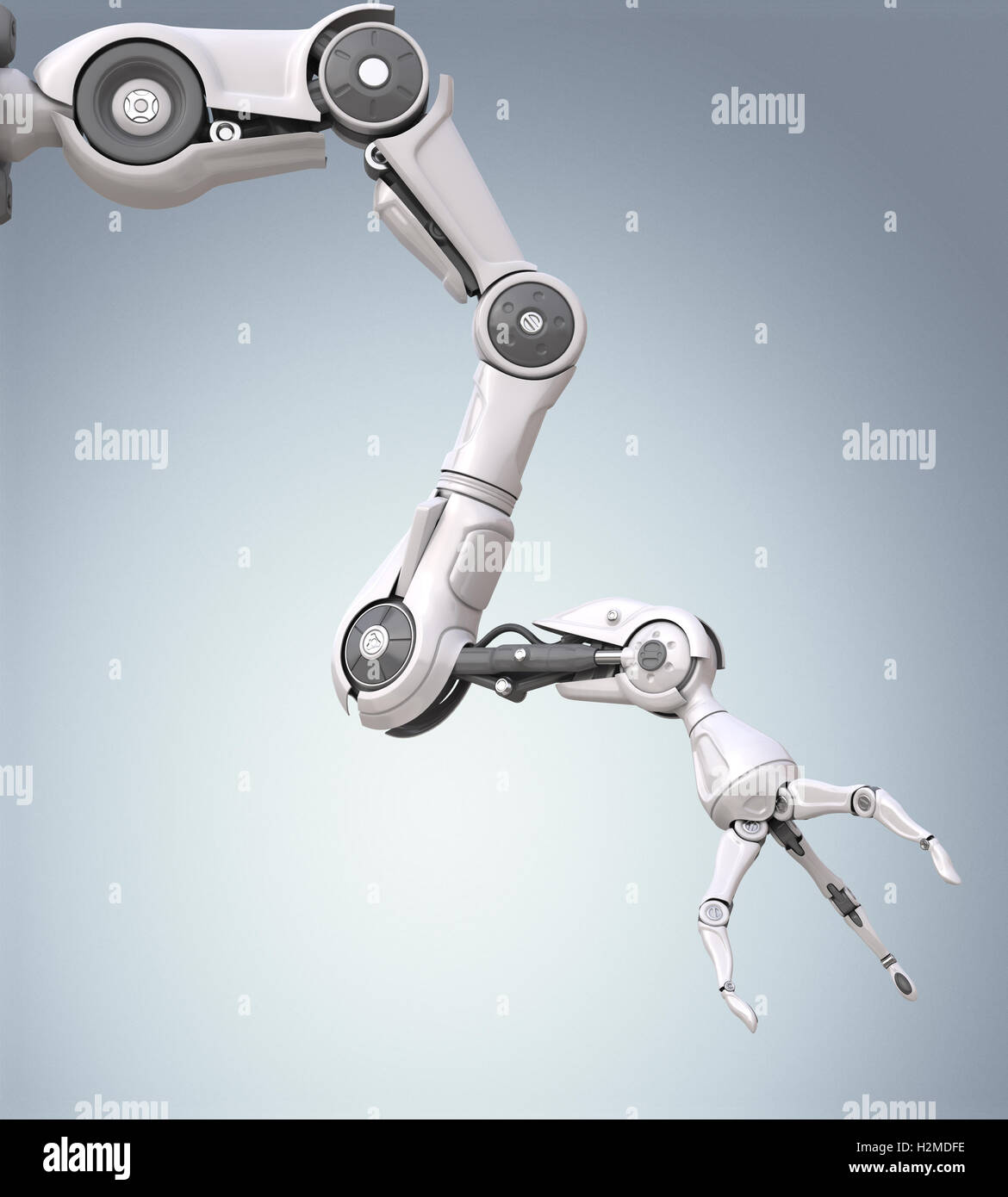 Futuristic robotic arm with mechanical seizure - Stock Image