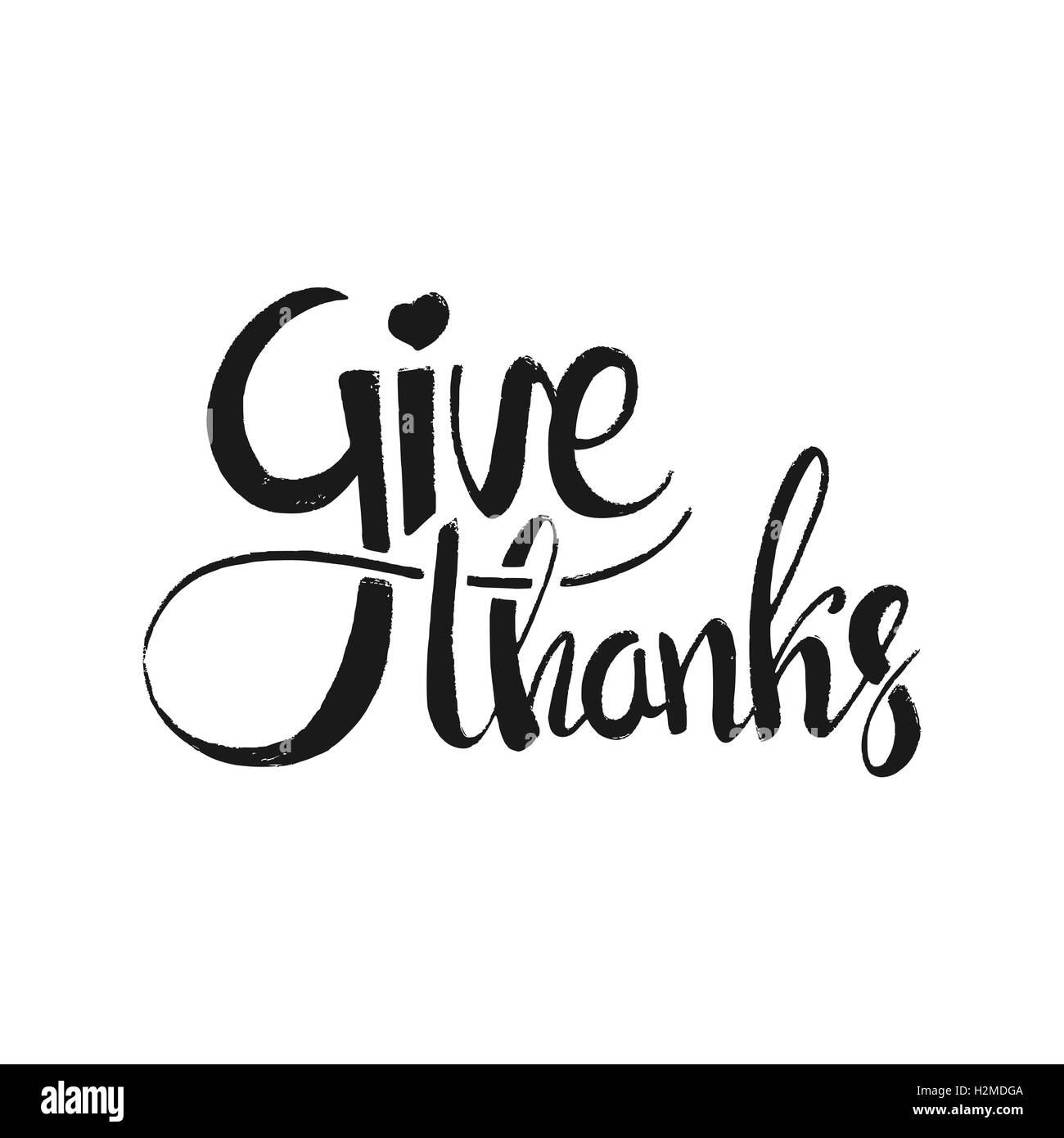 Give Thanks Lettering Happy Thanksgiving Day Modern Vector Hand Drawn Calligraphy Isolated On White Background For Your Design
