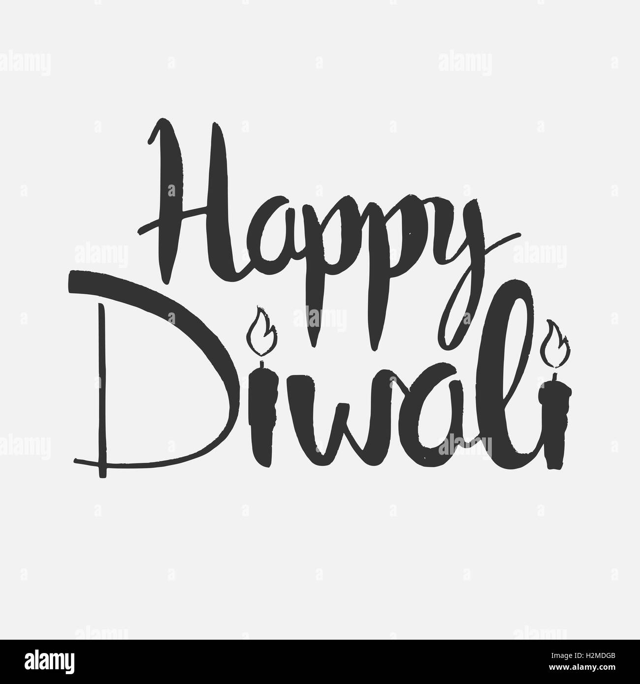 Happy diwali lettering modern vector hand drawn calligraphy over white background for your greeting card