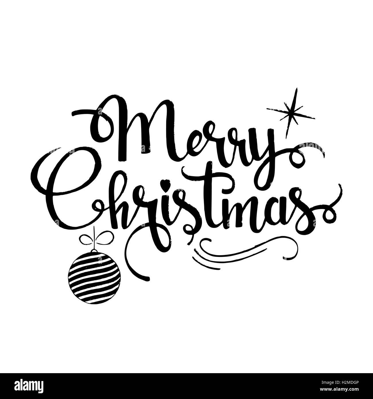 merry christmas lettering modern vector hand drawn. Black Bedroom Furniture Sets. Home Design Ideas