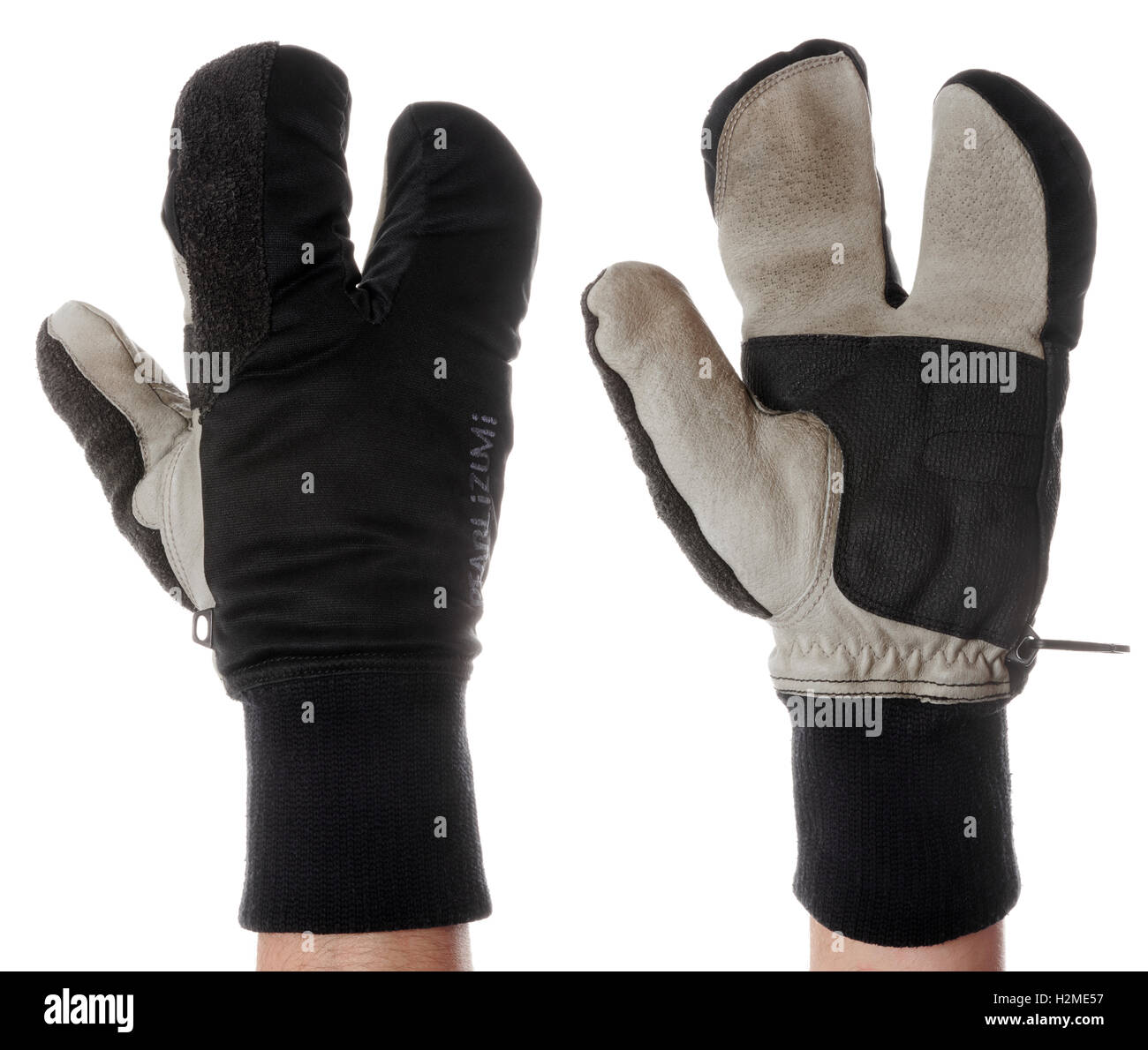Cycling lobster claw glove on white background - Stock Image