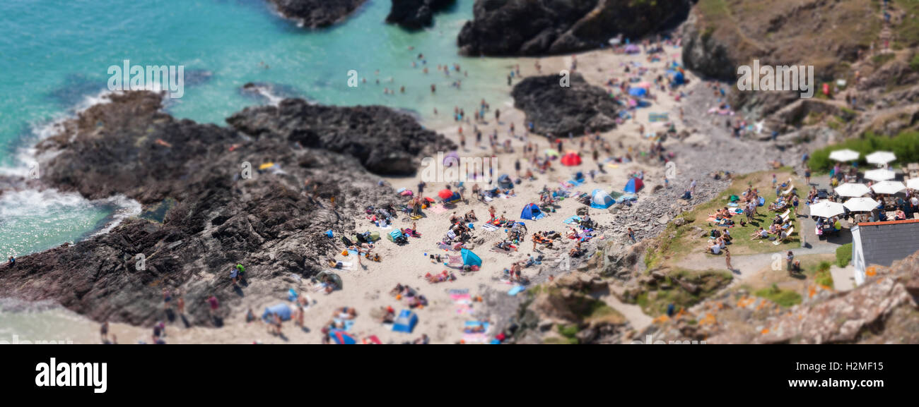 Tilt shift Kynance Cove Cornwall in August busy UK beach - Stock Image