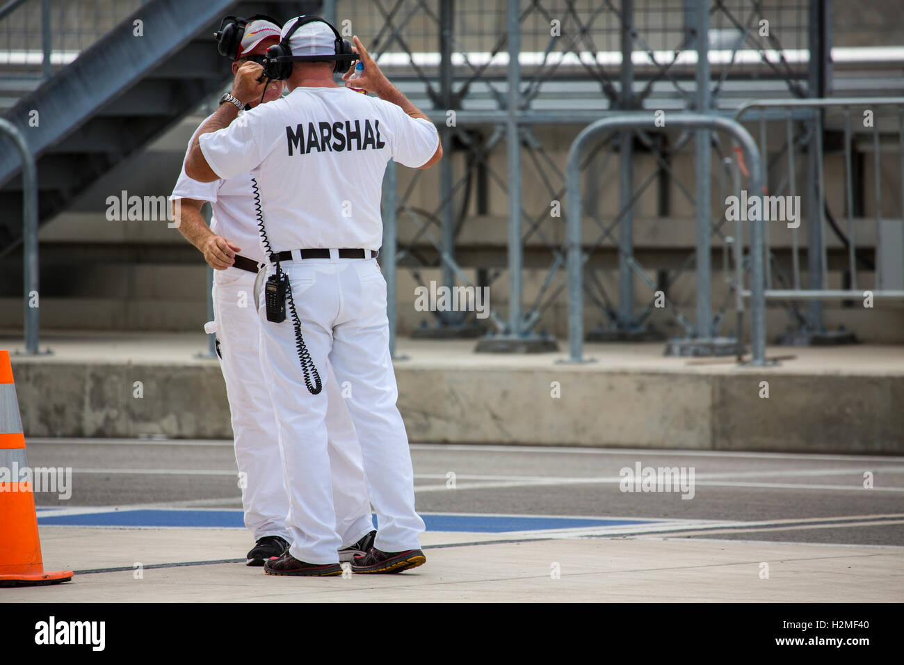 Marshalls Talk at the Circuit of the Americas Stock Photo