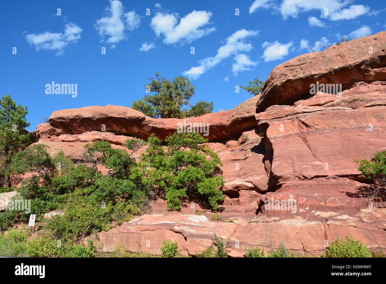 Sandstone rock formation at Garden of the Gods Park in Colorado Springs - Stock Image