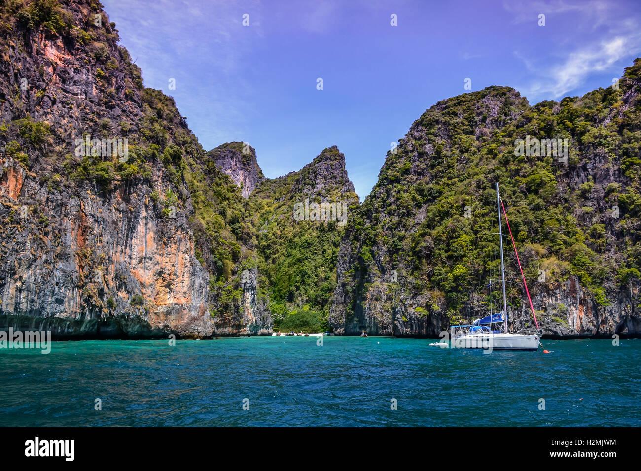 Phuket, boat, sea, water, landscape, mountains, - Stock Image