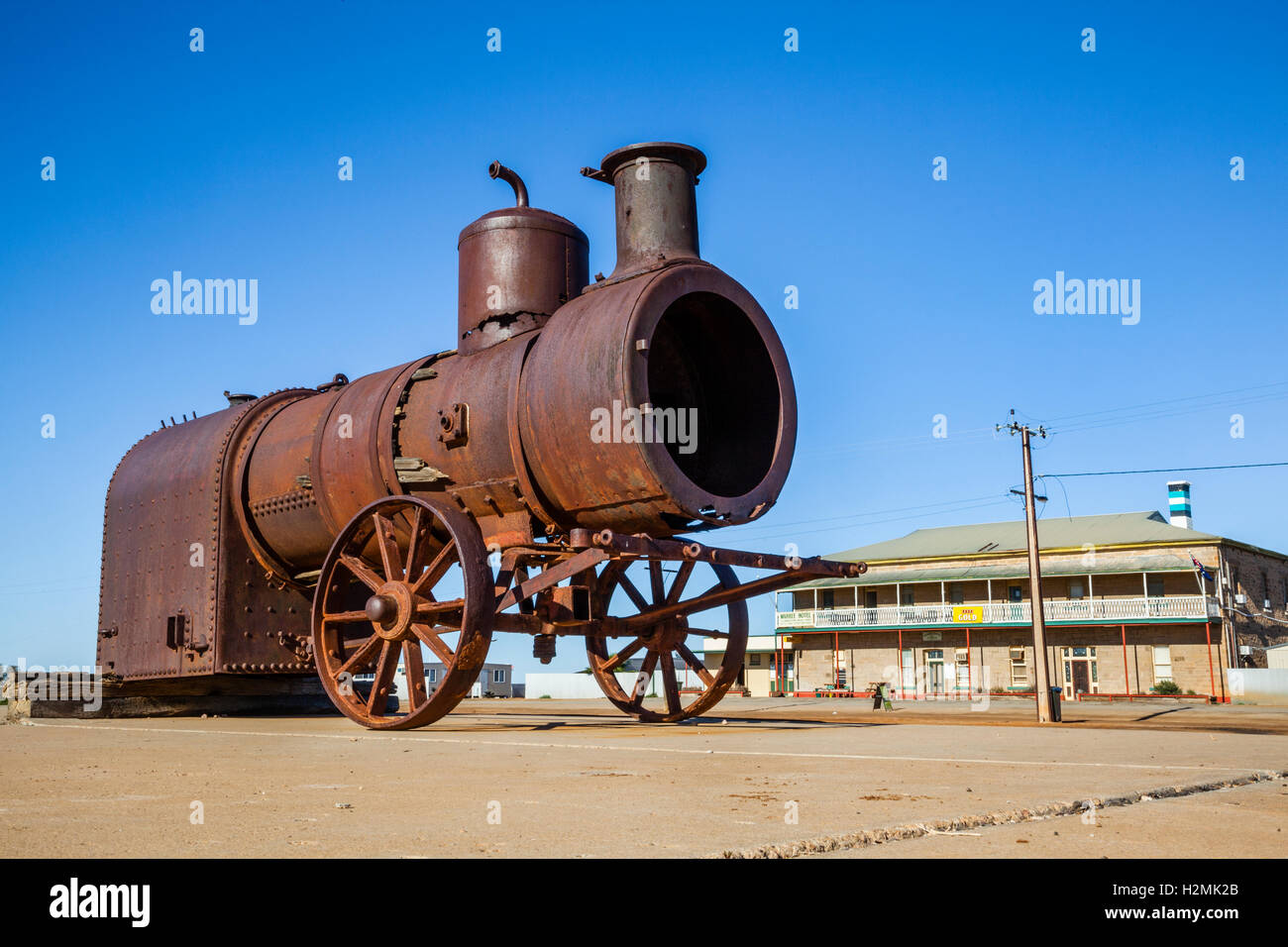 old steam engine at Marree Hotel, South Australia - Stock Image