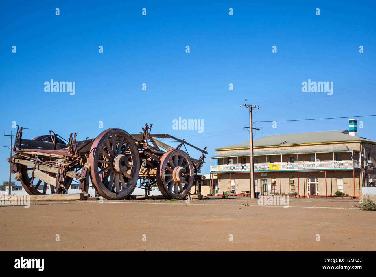 old bullock cart at the Maree Hotel, South Australia - Stock Image