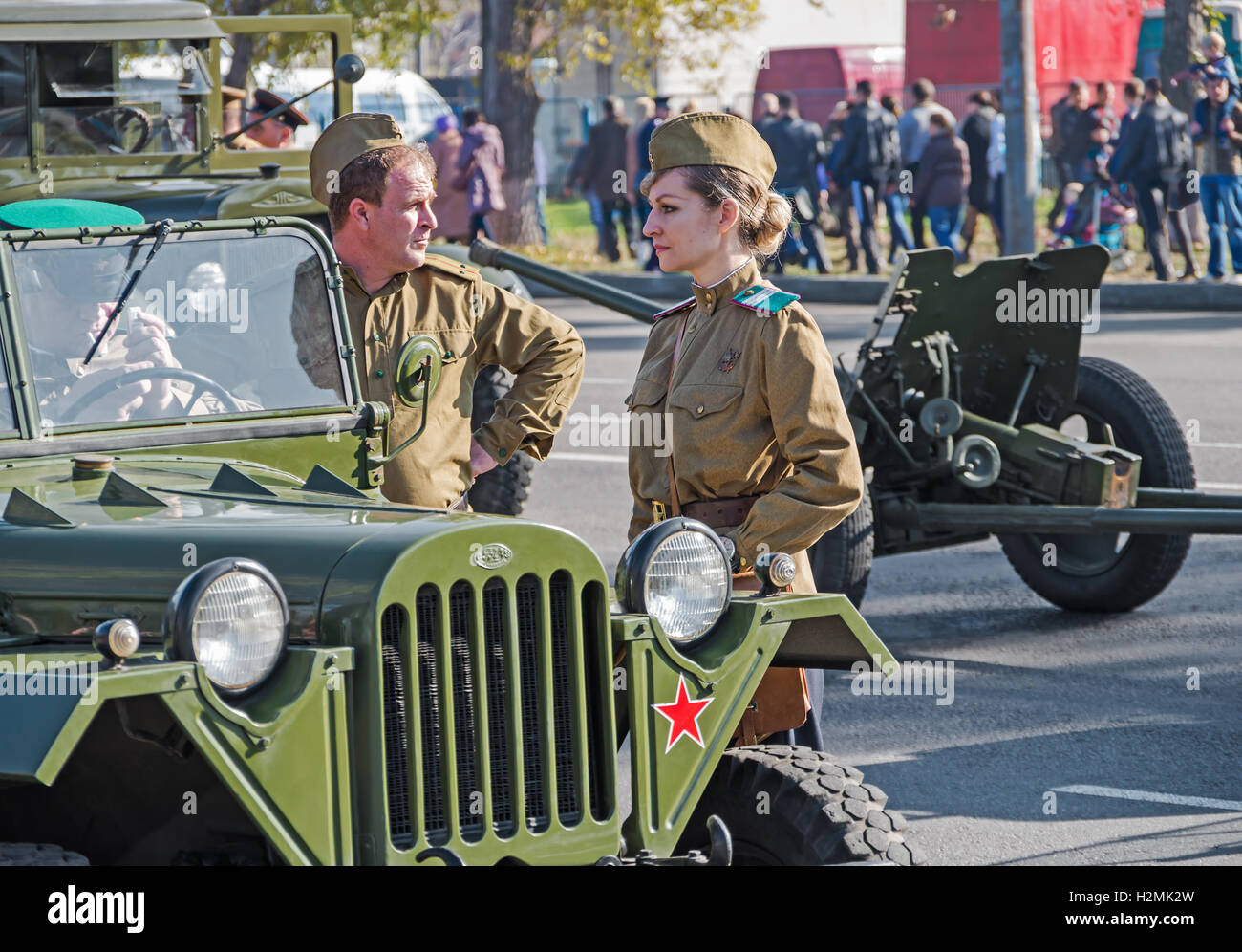 DNEPROPETROVSK, UKRAINE - October 29, 2013: Reconstruction of forcing Dnieper River 152 Guards Division in 1943 Stock Photo