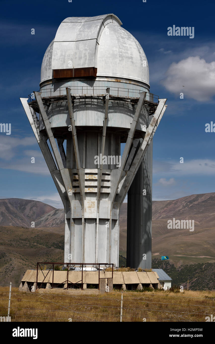 Assy astronomical observatory telescope tower on the mountain plateau of Assy Turgen Kazakhstan - Stock Image
