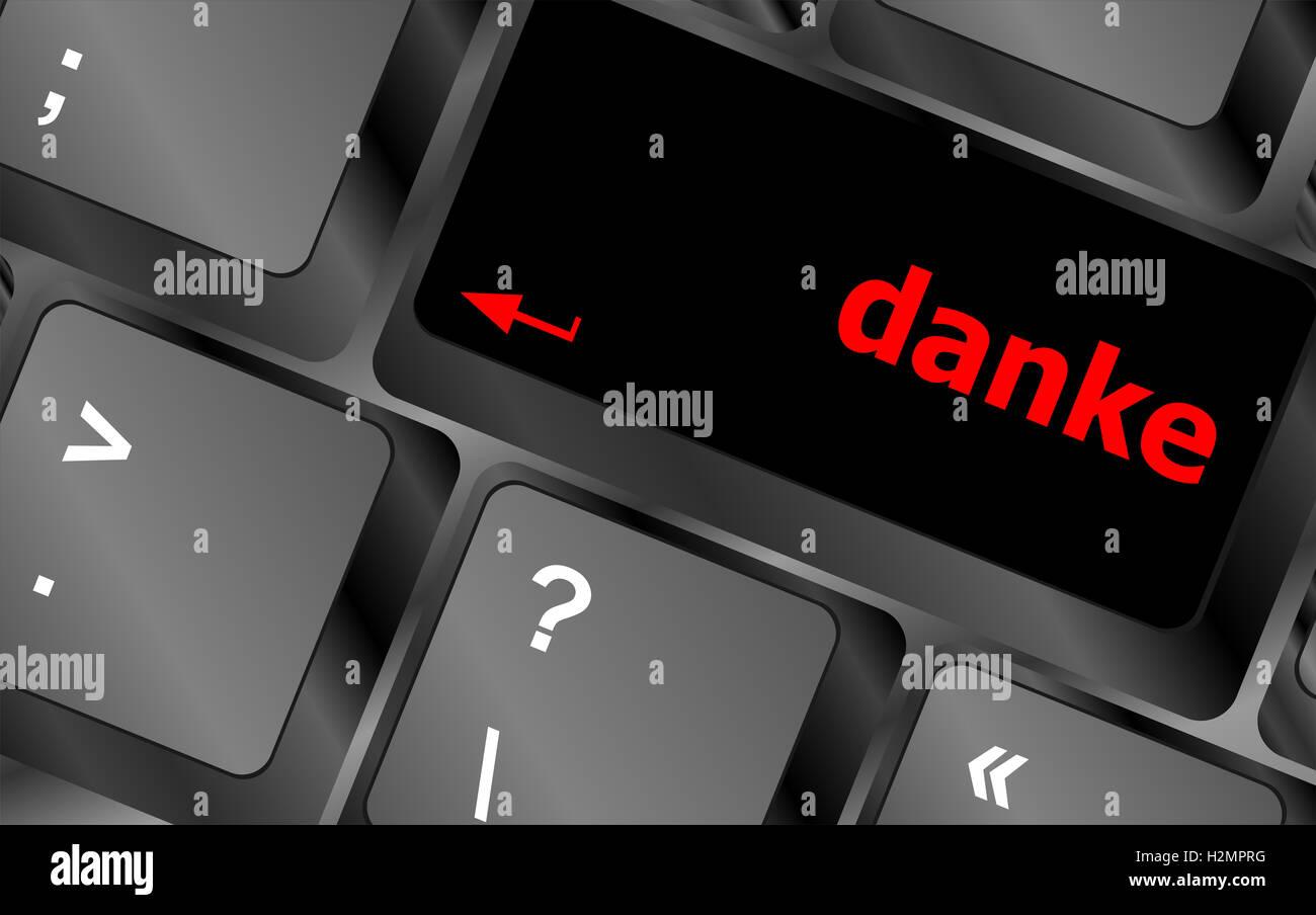 a danke message on enter key of keyboard Stock Photo