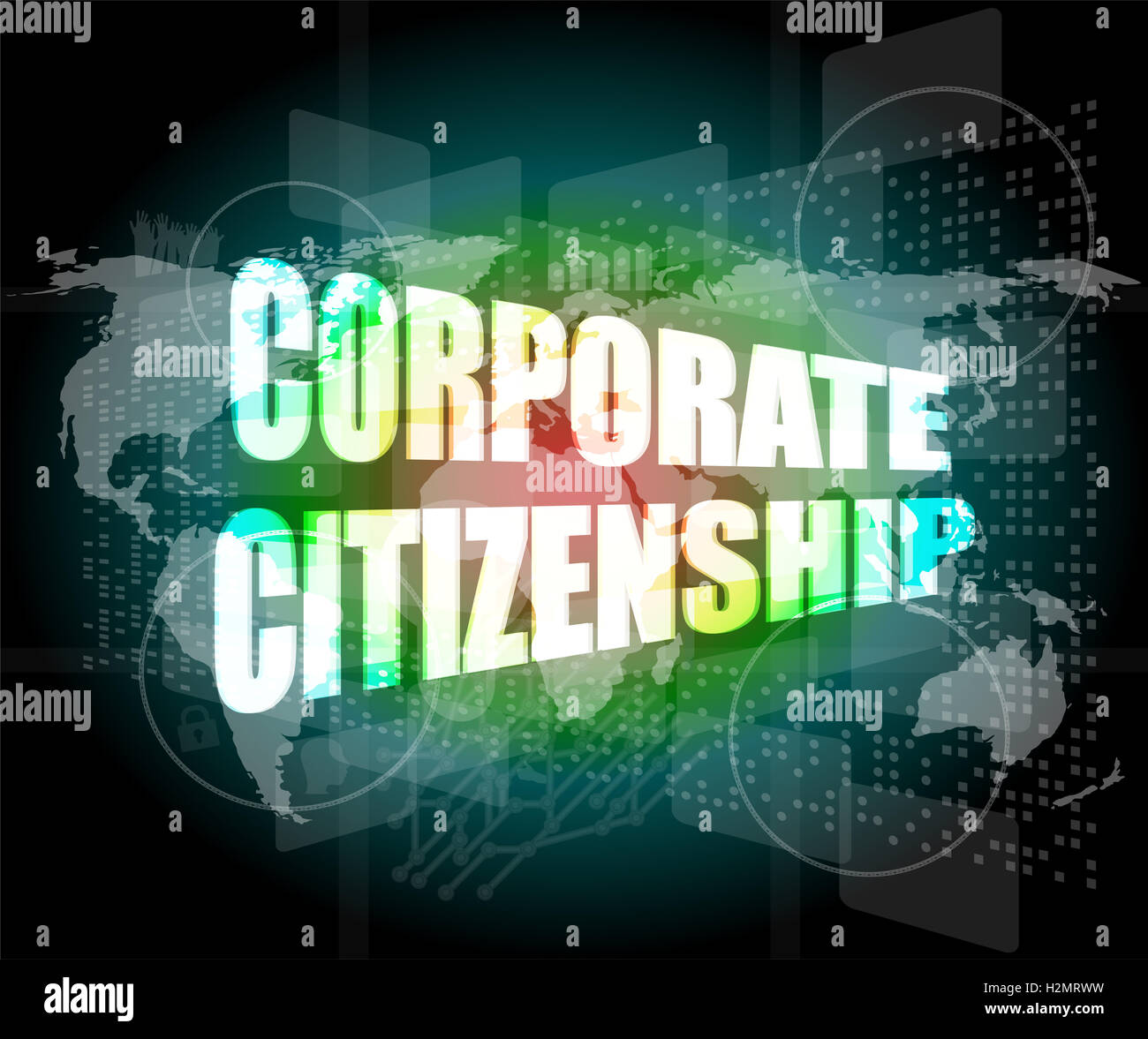 corporate citizenship words on digital screen with world map - Stock Image