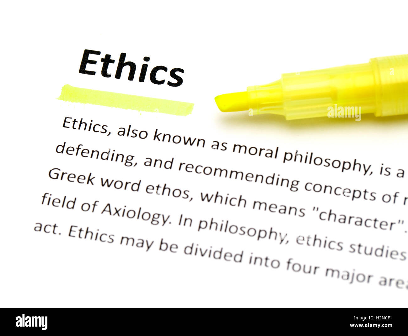 definition of ethics stock photo: 122163301 - alamy