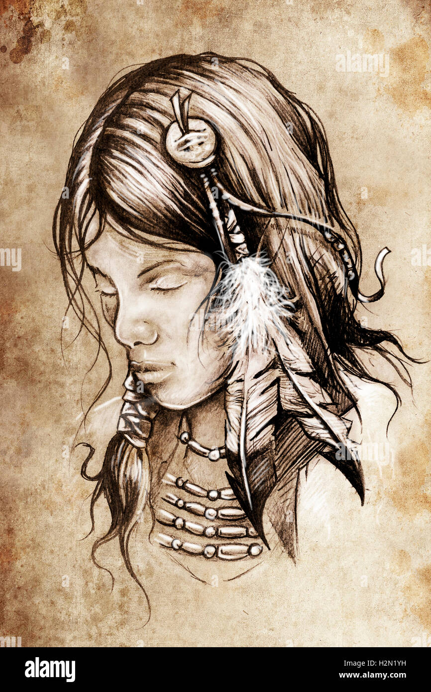 American Indian Woman Tattoo Sketch Handmade Design Over Vinta