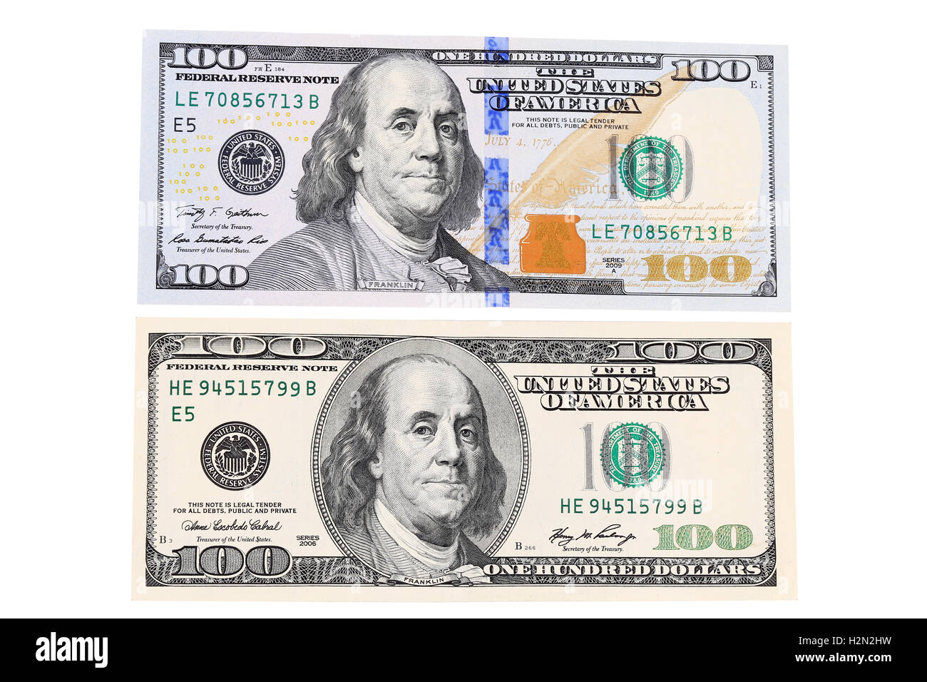 Top and back side of hundred dollar bill. - Stock Image