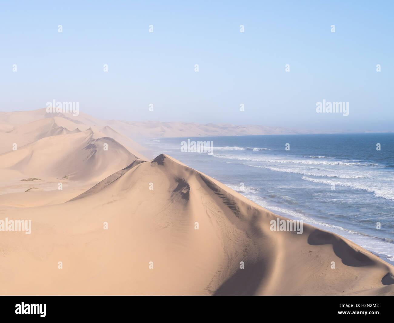 Sandwich Harbour, a lagoon on the Atlantic coast of Namibia, lying south of Walvis Bay, within the Namib-Naukluft - Stock Image