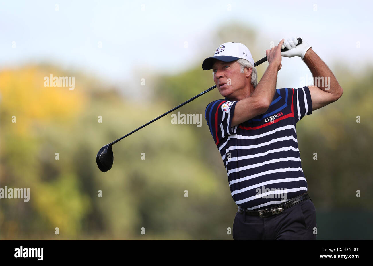 USA's Ben Crenshaw during the captain's challenge ahead of the 41st Ryder Cup at Hazeltine National Golf - Stock Image