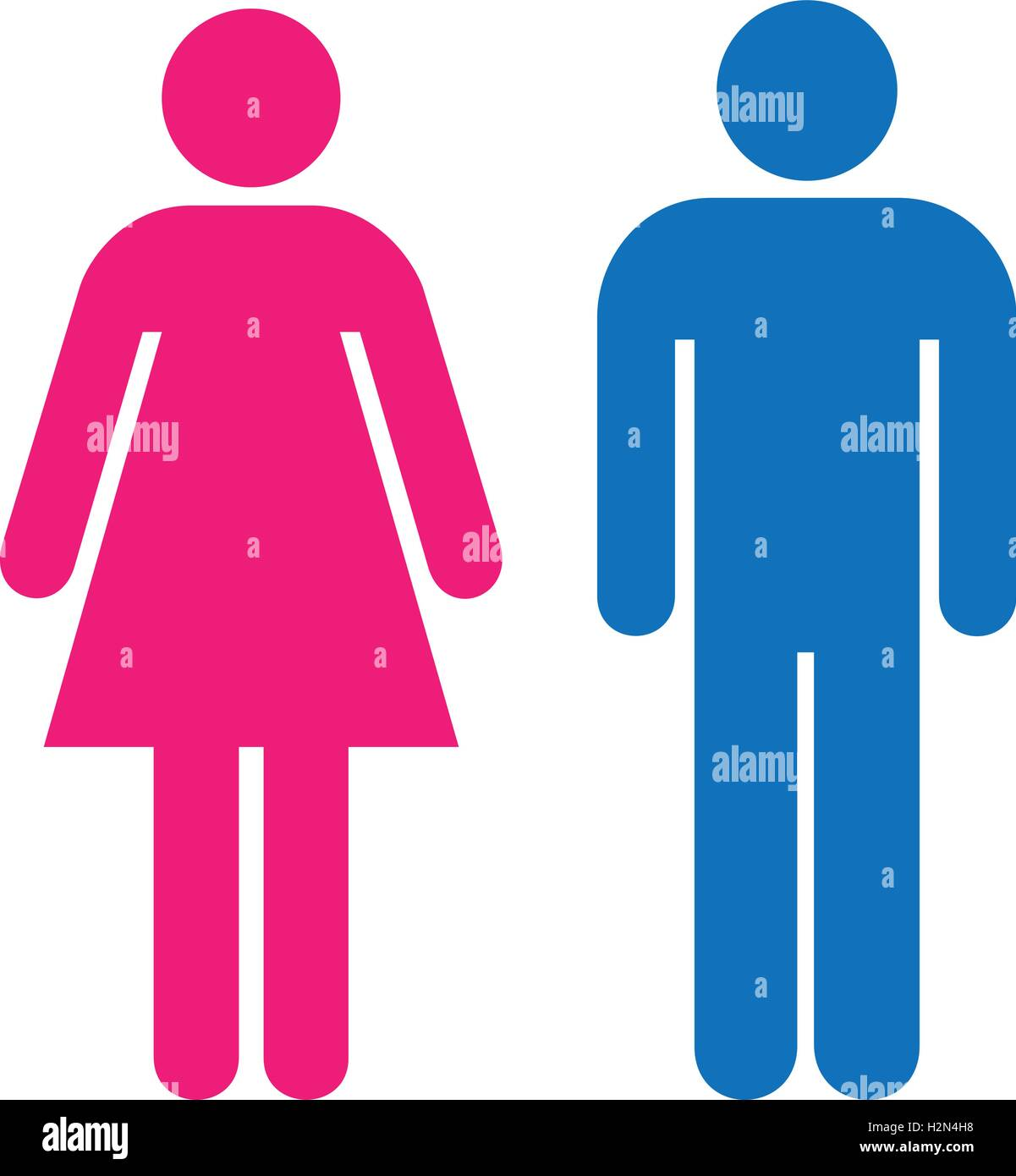 Restroom Sign A Blue Man And A Pink Lady Toilet Sign
