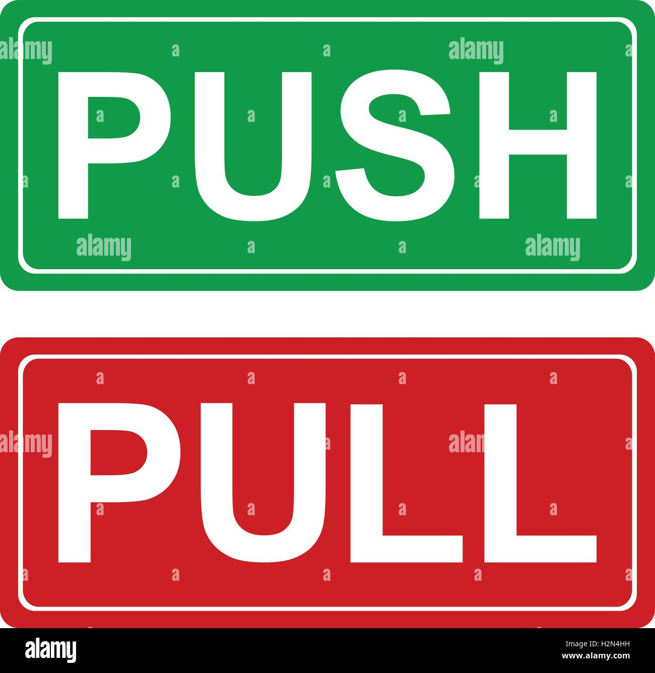 Push and pull signs green and red vector illustrations stock vector