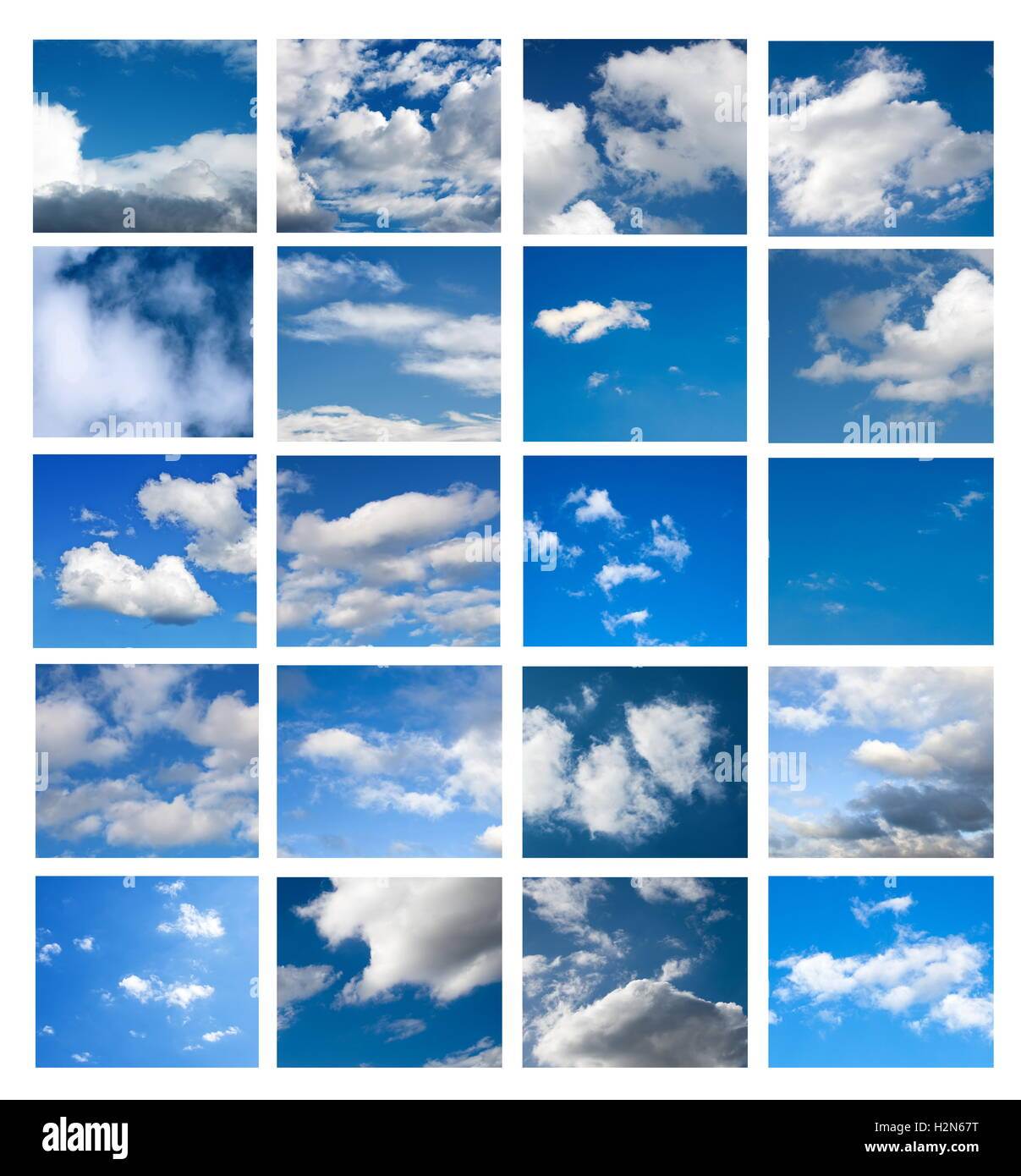 sky collage on white surface - Stock Image
