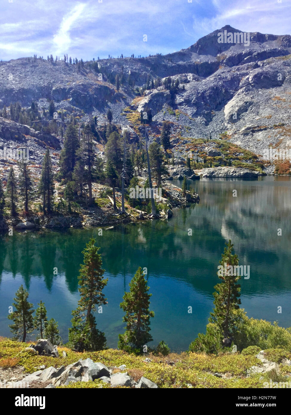 Trees reflecting on a lake in Desolation Wilderness area near Echo Lake above Lake Tahoe, California - Stock Image
