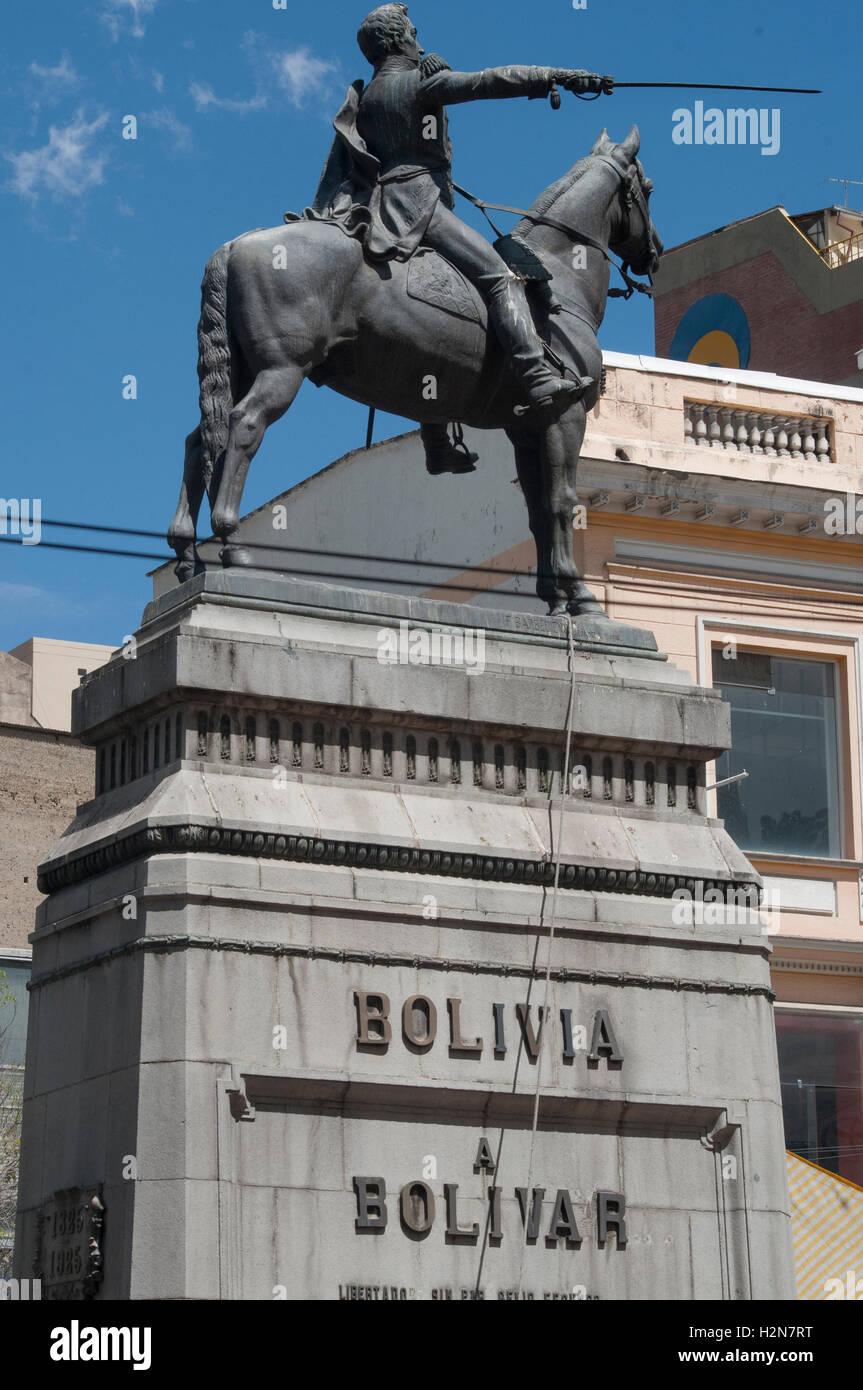 Monument for the national hero Simon Bolivar in Plaza Venezuela, La Paz, Bolivia - Stock Image