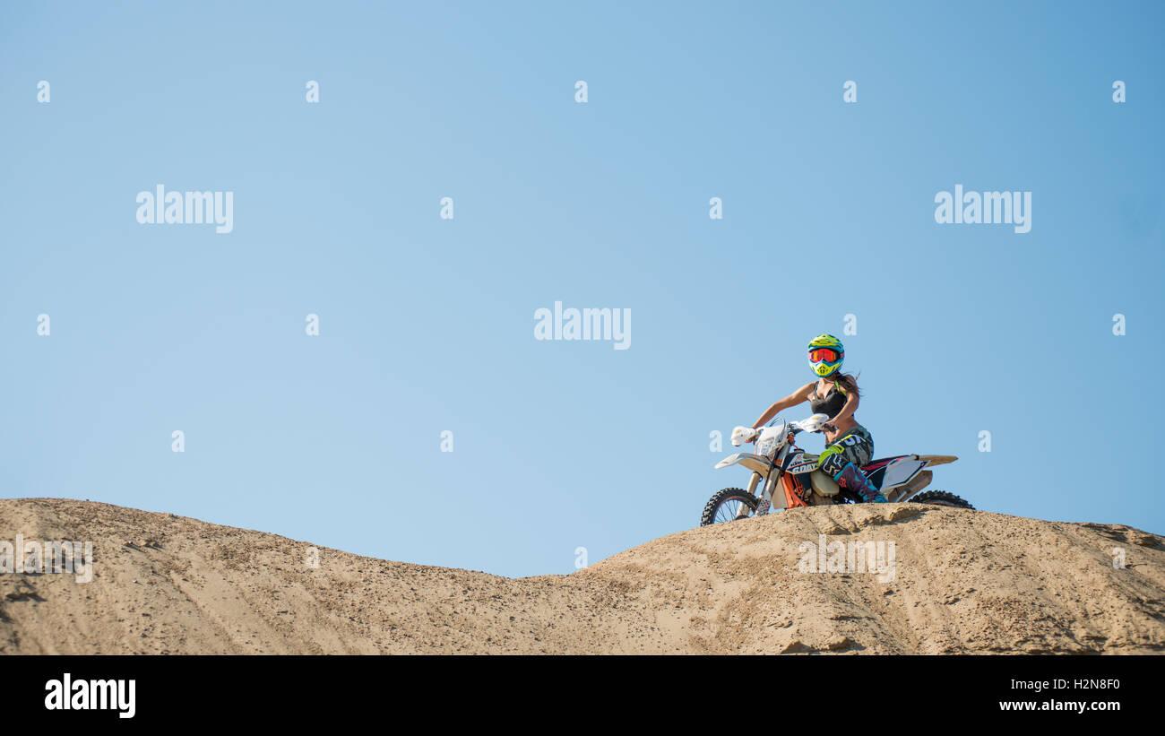 Khabarovsk, Russia - September 29. 2016: Girl motorcycle helmet, motorcycle 6 days - Stock Image