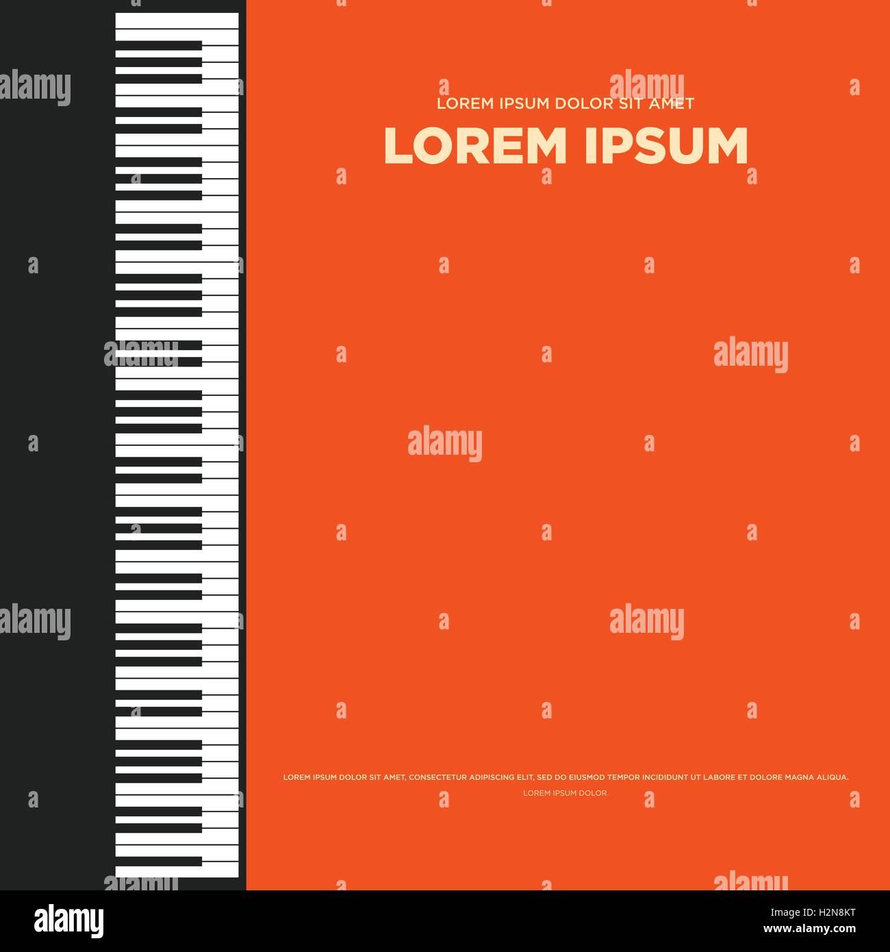 Composition Book Cover Background ~ Piano retro vintage poster card book cover banner background