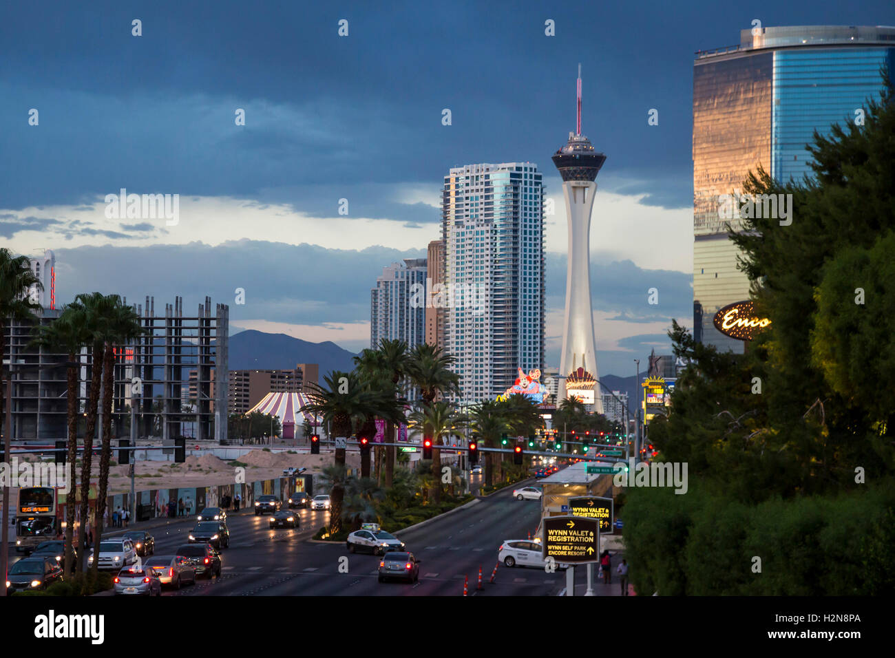 Las Vegas, Nevada - The north end of the Las Vegas Strip, including the Stratosphere observation tower. - Stock Image