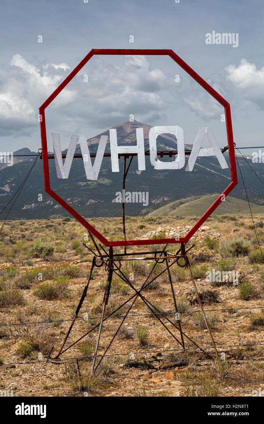 Baker, Nevada - Art at the end of a road just outside Great Basin National Park. Stock Photo