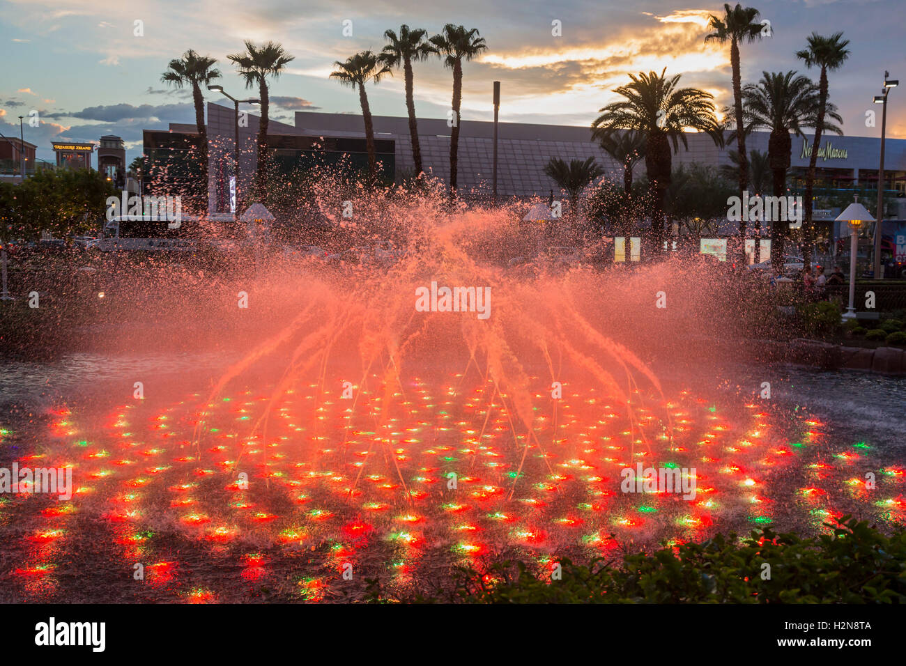 Las Vegas, Nevada - A fountain in front of the Wynn Hotel and Casino. - Stock Image