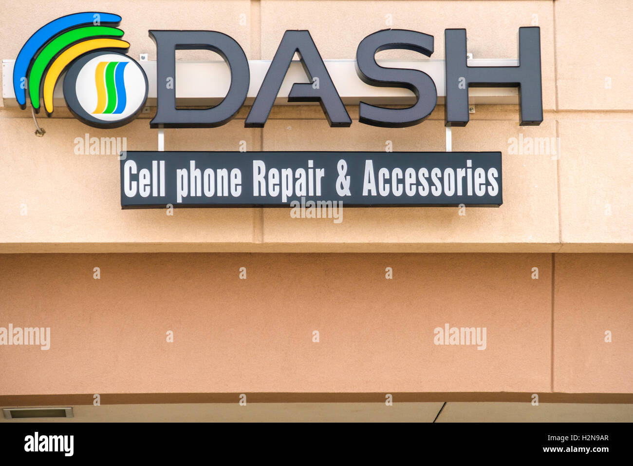 The exterior name and logo of DASH, an electronic repair
