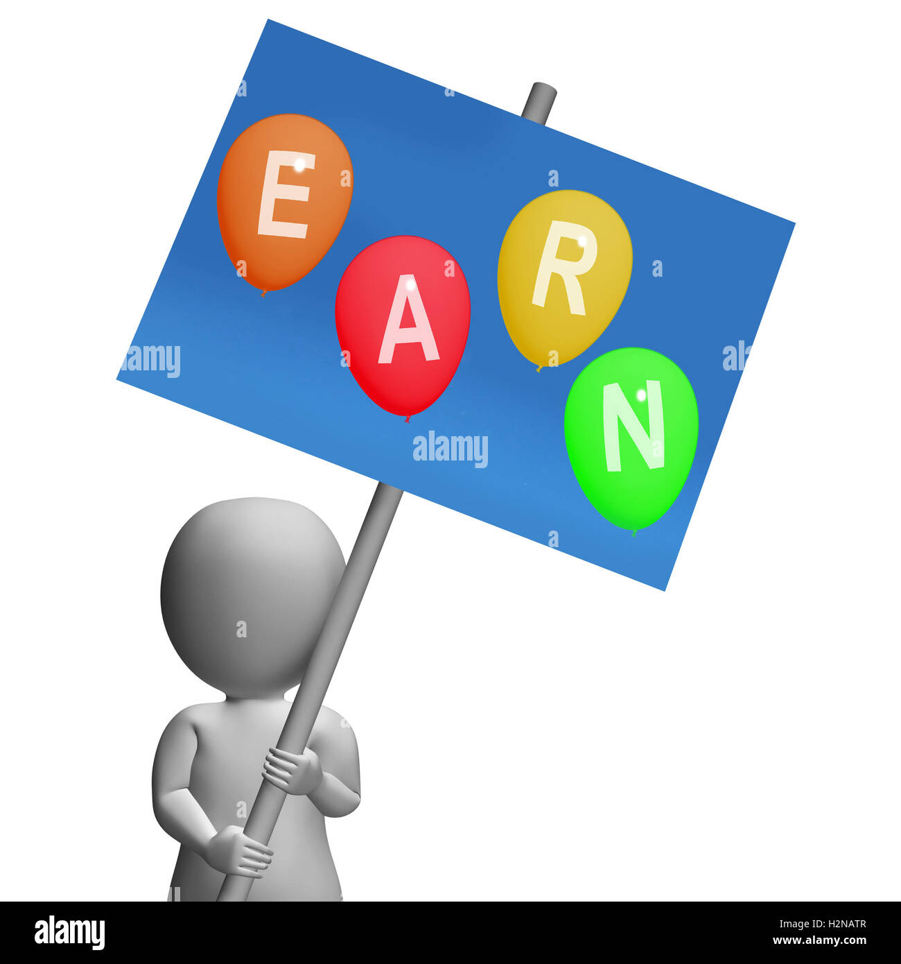 Sign Earn Balloons Showing Online Earnings, Promotions, Opportunities, and Sales - Stock Image