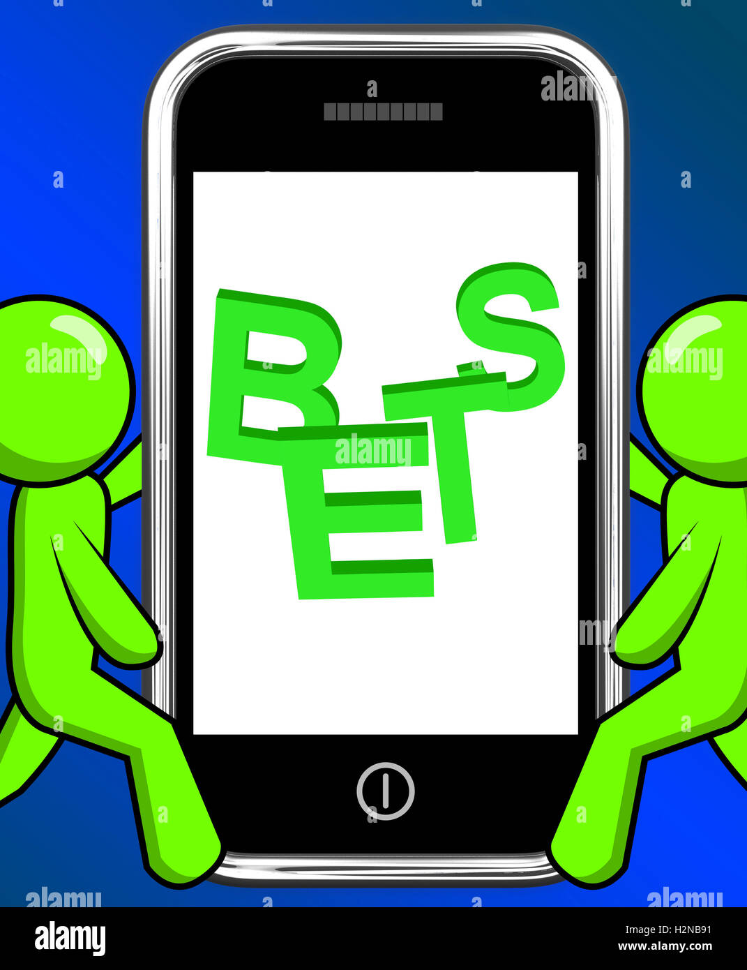 Bets On Phone Displaying Online Or Internet Gambling - Stock Image