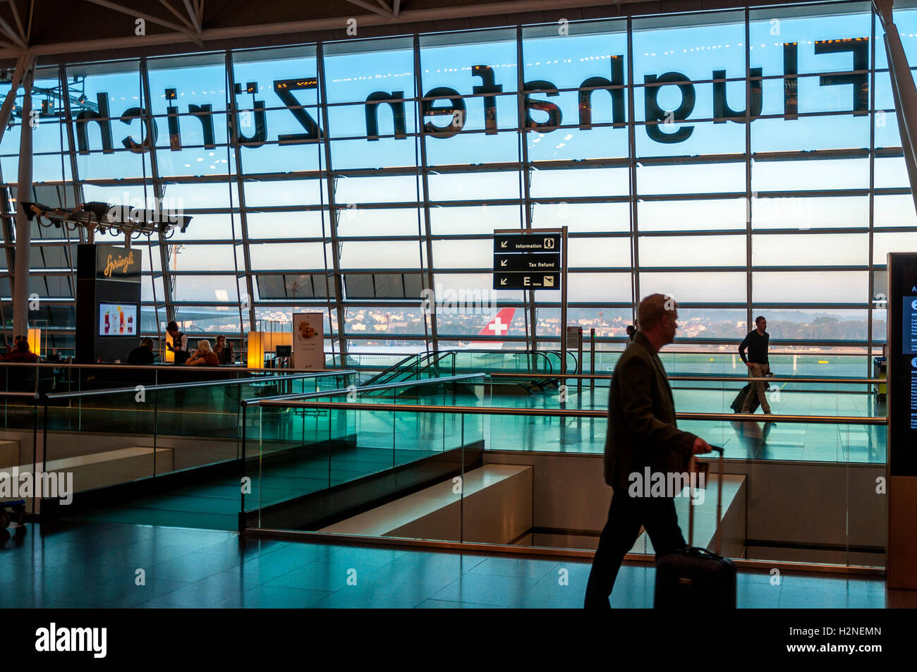 Zürich Airport, Flughafen Zürich, also known as Kloten Airport, the largest international airport of Switzerland - Stock Image