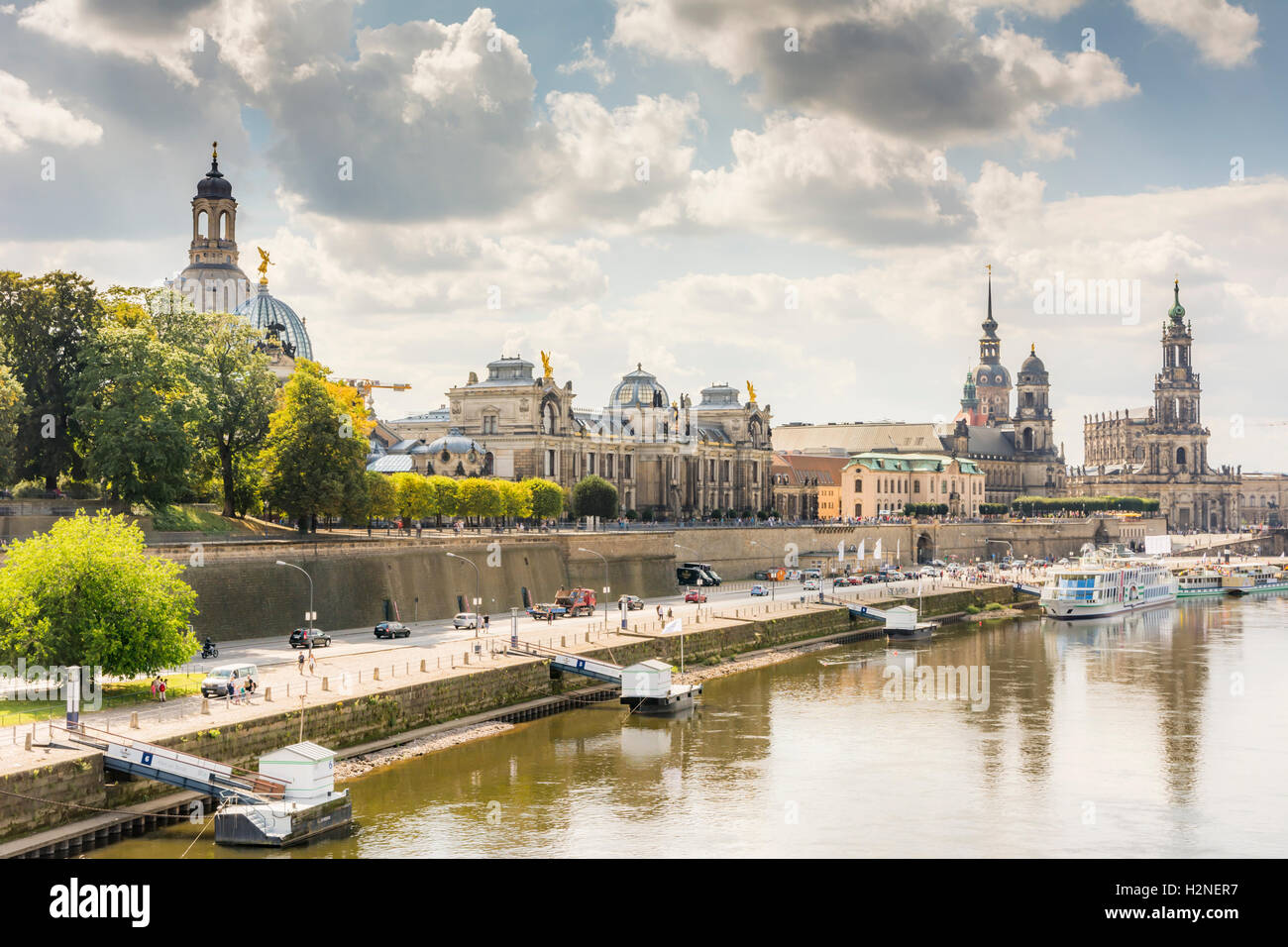 DRESDEN, GERMANY - AUGUST 22: Tourists at the promenade of the river Elbe in Dresden, Germany on August 22, 2016. - Stock Image