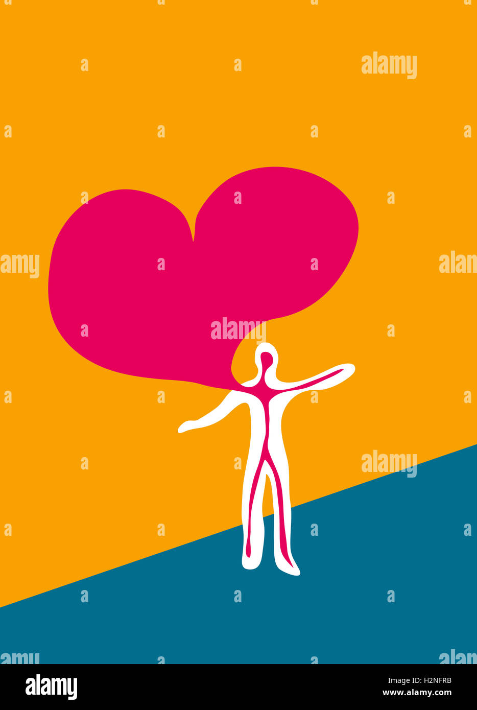 Love. Huge heart flowing from human chest. - Stock Image