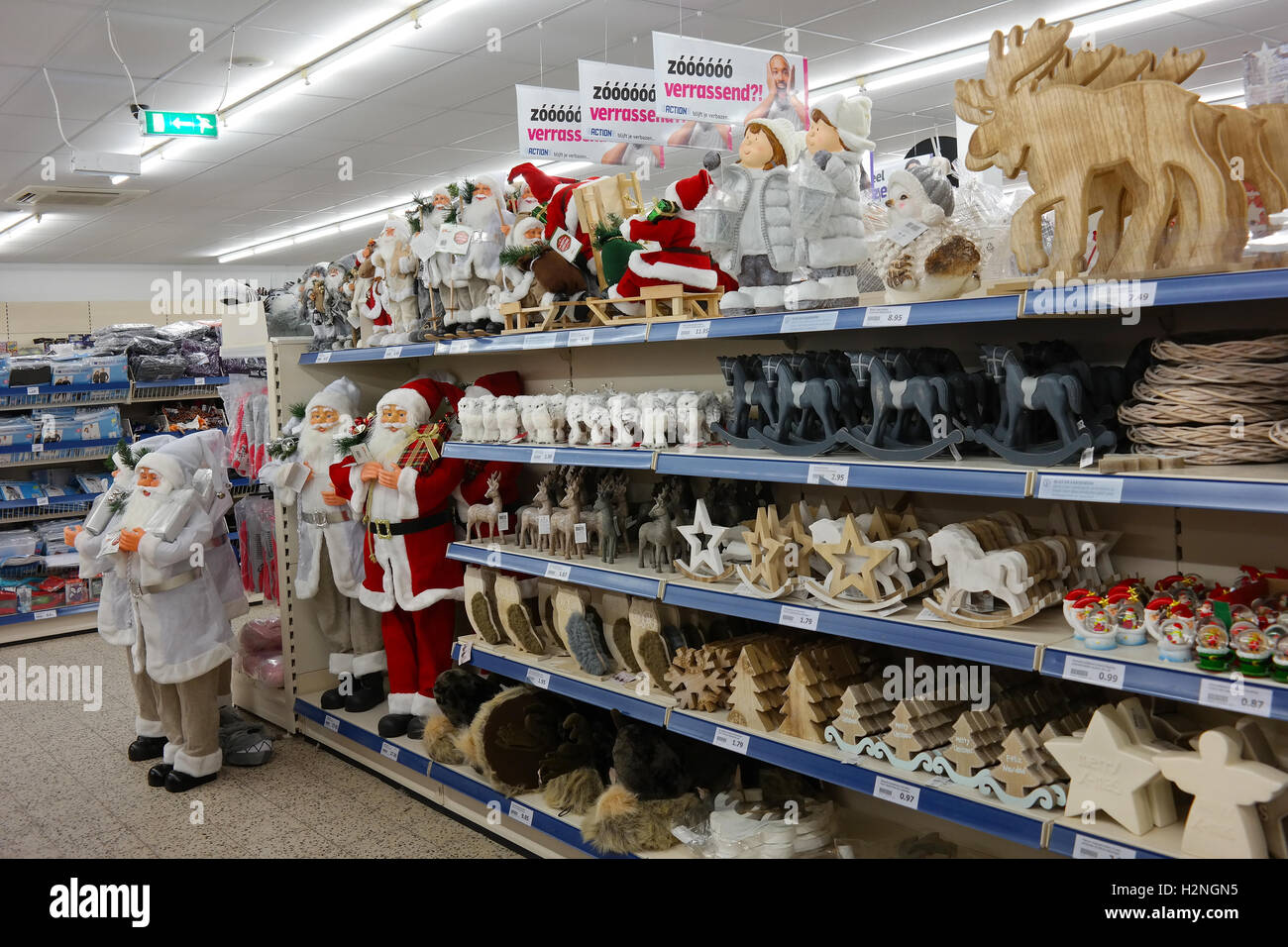 Christmas decorations and Christmas articles in a Superstore - Stock Image